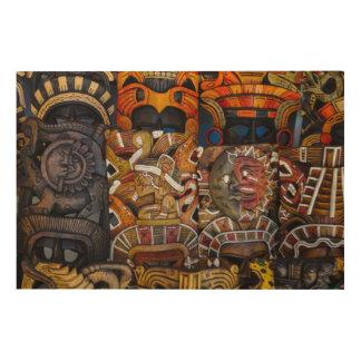 Mayan Houten Maskers in Mexico Hout Afdruk