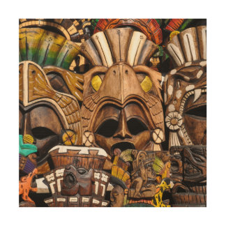 Mayan Houten Maskers in Mexico Houten Canvas Prints