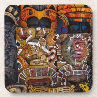Mayan Houten Maskers in Mexico Onderzetter
