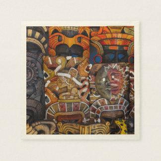 Mayan Houten Maskers in Mexico Papieren Servetten