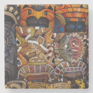 Mayan Houten Maskers in Mexico Stenen Onderzetter