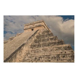 Mayan Ruïne van Itza van Chichen in Mexico Hout Afdruk