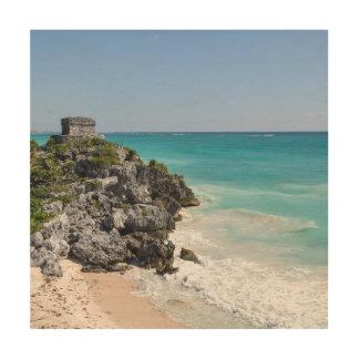 Mayan Ruïnes in Tulum Mexico Hout Afdruk
