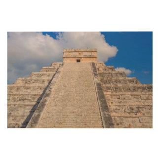 Mayan Tempel van Itza van Chichen in Mexico Hout Afdruk