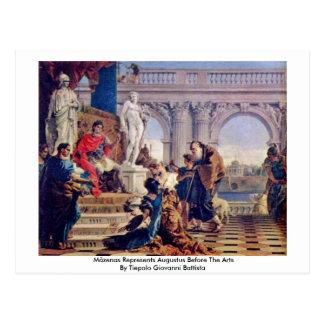 Mäzenas vertegenwoordigt Augustus vóór de Arts. Briefkaart