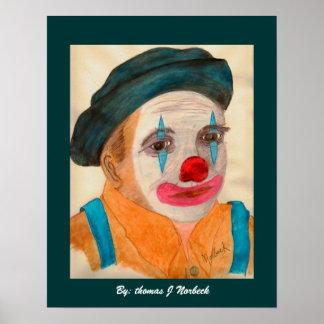 me als clown, door: Thomas J Norbeck Poster