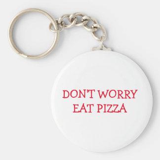 Me maak niet eten Pizza Keychain ongerust Basic Ronde Button Sleutelhanger