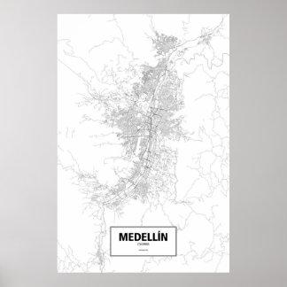 Medellín, zwart Colombia (op wit) Poster