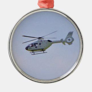 Medische Helikopter Zilverkleurig Rond Ornament