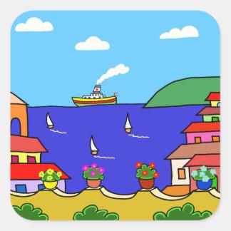 Mediterrane Vakantie Vierkante Sticker