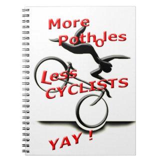 meer potholes minder (yay) fietsers notitieboek