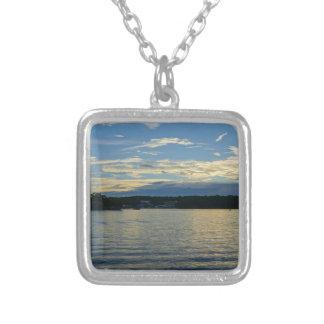 Meer van de Blauwe Zonsondergang Ozarks Zilver Vergulden Ketting