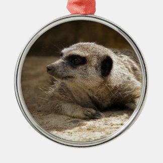 Meerkat Zilverkleurig Rond Ornament
