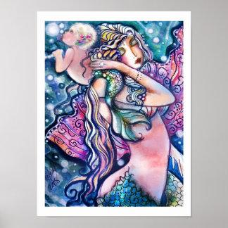 Meermin en Baby, Kleurrijk Poster