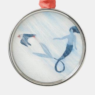 Meermin en Papegaaiduiker Zilverkleurig Rond Ornament