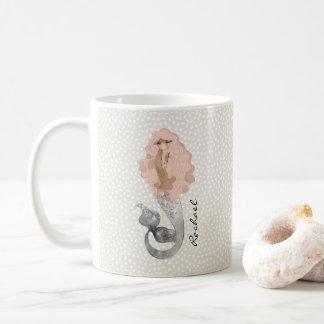 Meermin met Roze Haar en Uw Naam Koffiemok