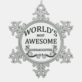 Meest geweldige Peetdochter van de wereld de Tin Sneeuwvlok Ornament