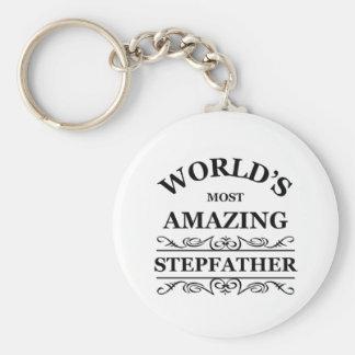 Meest verbazende stiefvader van de wereld de basic ronde button sleutelhanger