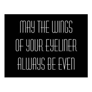 Mei de vleugels van uw eyeliner is altijd zelfs briefkaart