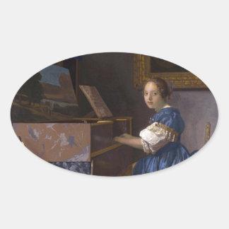 Meisje bij de Piano Ovaalvormige Stickers