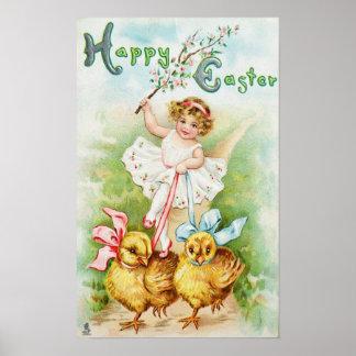 Meisje die de Kuikens van Pasen berijden Poster