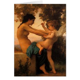 Meisje die verdedigen tegen Cupido door Bouguereau Wenskaart