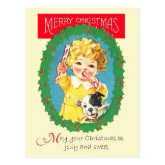Meisje en de Hond die Kerstmis het eten behandelen Briefkaart