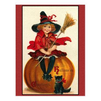 Meisje en de Kat van de Groeten van Halloween het Briefkaart
