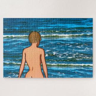 Meisje in de het Schilderen van het Zee Puzzel Puzzel