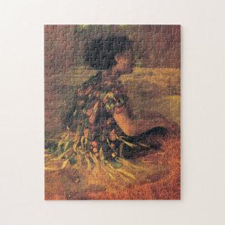 """""""Meisje in de Kleding van het Gras"""" - John LaFarge Legpuzzel"""