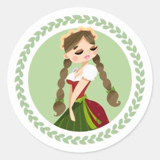 Meisje in Dirndl Ronde Sticker