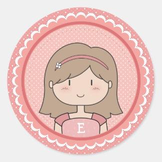 Meisje met Aanvankelijk Ronde Sticker