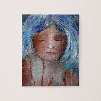 Meisje met Blauw Haar Puzzel
