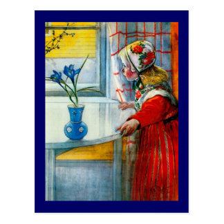 Meisje met Blauwe Iris Briefkaart