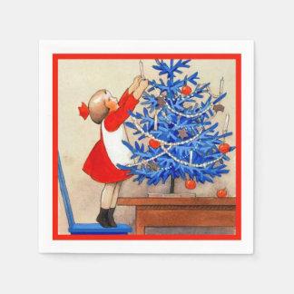 Meisje met Blauwe Kerstboom Papieren Servet