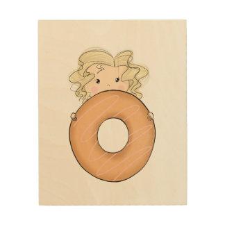 Meisje met Doughnut Hout Afdruk