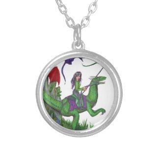 Meisje met Draken en Dinosaurussen Zilver Vergulden Ketting