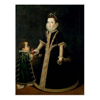 Meisje met een dwerg, gedachte om een portret te briefkaart
