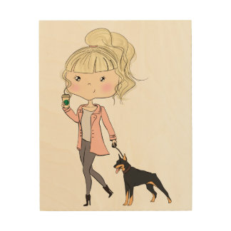 Meisje met een Hond Hout Afdruk
