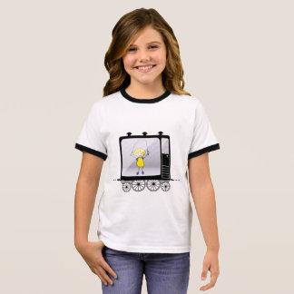 Meisje met een springtouw in de trein t shirts