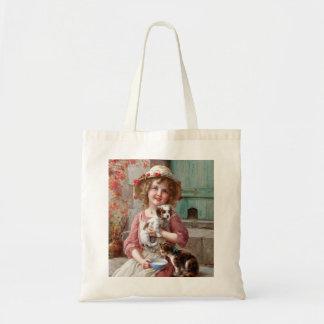 Meisje met het Canvas tas van het Katje en van de