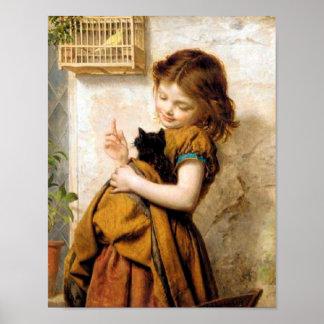 Meisje met het Poster van de Kat