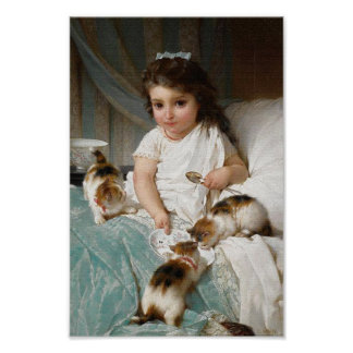 Meisje met het Vintage Poster van Katjes