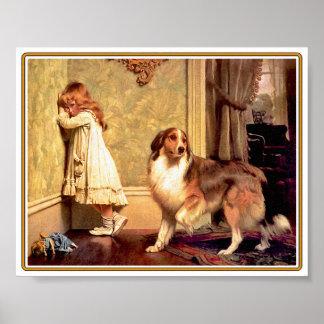 Meisje met Huisdier Sheltie Poster