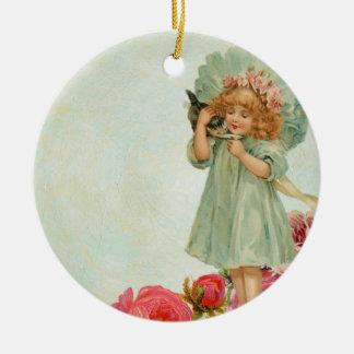 Meisje met kat rond keramisch ornament