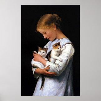 Meisje met Katjes, Albert Anker Poster