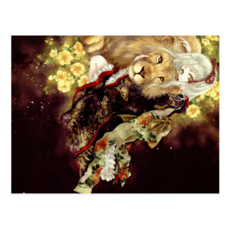 meisje met leeuw anime briefkaart