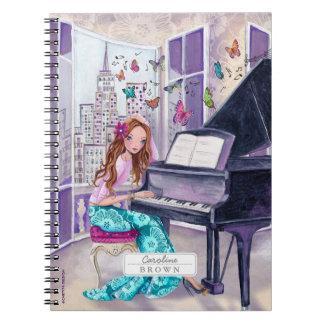 Meisje | van de Muziek van de Vlinder van de piano Ringband Notitie Boek