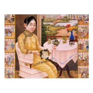 Meisje van de Reclame van de Thee van de vintage Briefkaart