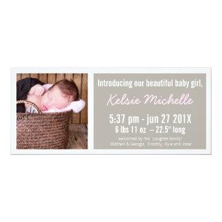Meisje van het Baby van mod. het Roze en Bruine 10,2x23,5 Uitnodiging Kaart